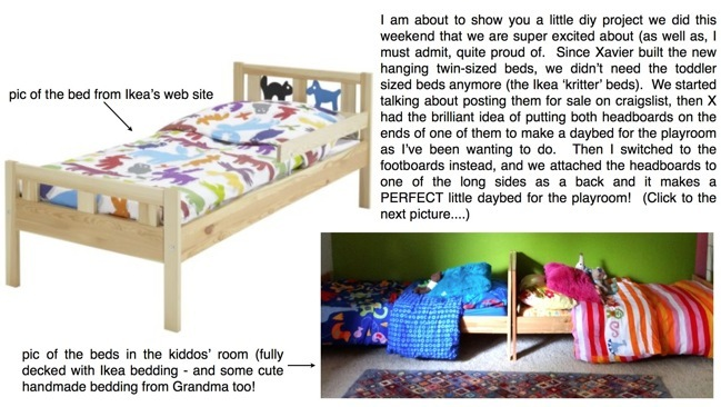 Ikea Friheten Replacement Cover ~   Daybed for the Kids' Playroom (Recycled Ikea Kritter Toddler Beds